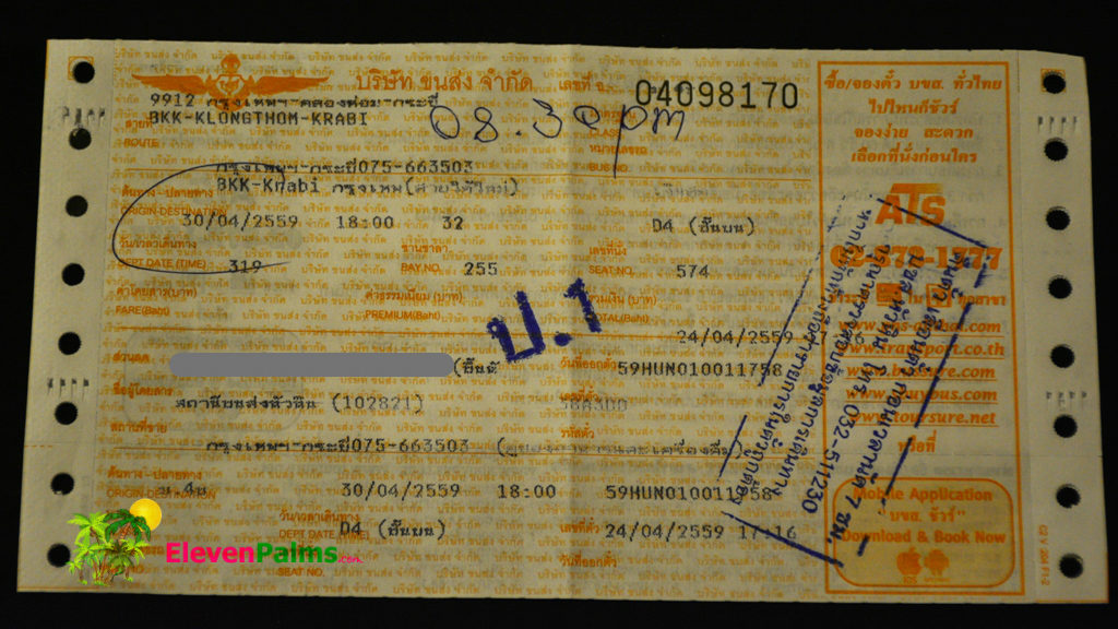 Bus ticket from Hua Hin to Krabi